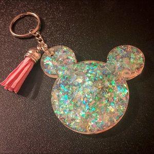 Iridescent Glitter Resin Mickey Mouse Keychain
